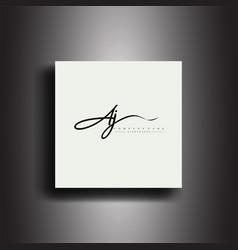 Aj signature style monogramcalligraphic lettering vector