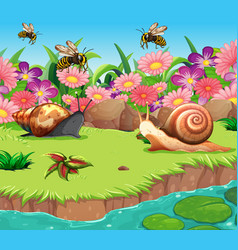 Background scene with snails and bees river vector