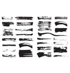 big set black pen ink brush strokes grunge ink vector image