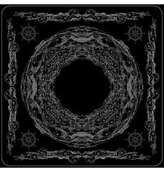 Black and white sea life bandana square pattern vector image