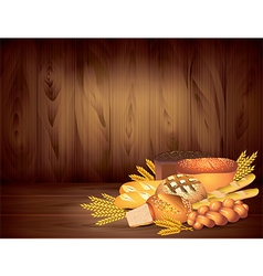 Breads wood background vector