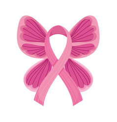 Breast cancer awareness month pink butterfly wings vector