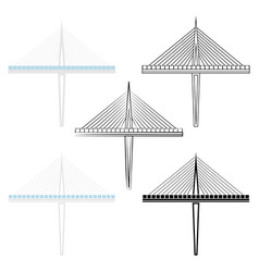 Bridge section colored and outline only vector