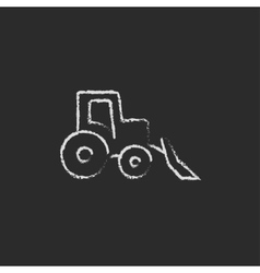 Bulldozer icon drawn in chalk vector image