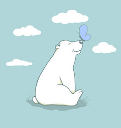 cartoon cub polar bear vector image
