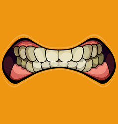 Cartoon grinning mouth with clenched teeth vector