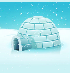 Cartoon igloo in polar winter landscape vector