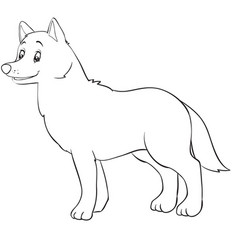 cartoon style wolf drawn in outline isolated vector image