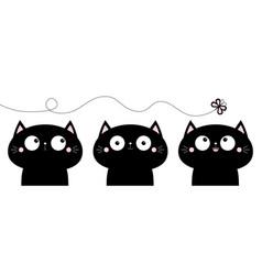 cat icon set cute cartoon funny pet character vector image