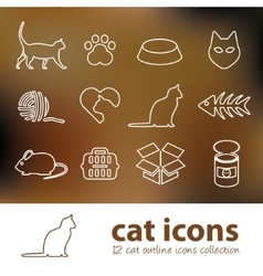 cat outline icons vector image