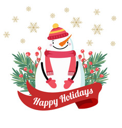 christmas card with snowman and tree branches vector image