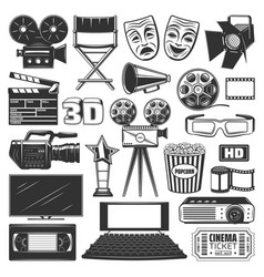 cinema production watching equipment signs icons vector image
