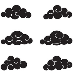 Clouds black set isolated on white background vector image