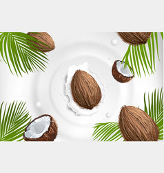 coconut with milk splash fruit and yogurt vector image