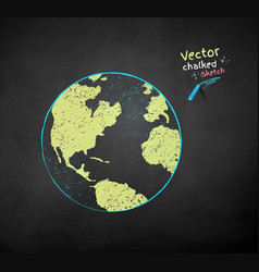 Color chalk drawn earth globe vector