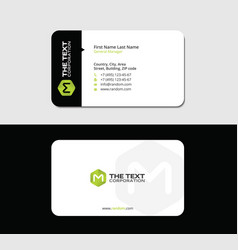 colored business card green letter m vector image