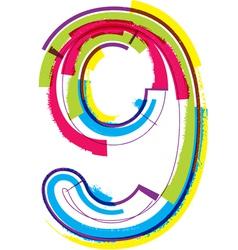 Colorful Grunge font Number 9 vector