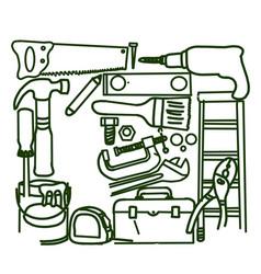 construction diy tools seamless pattern vector image