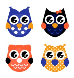 Cute Halloween owls collection isolated on white vector image