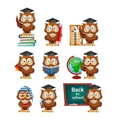 Cute wise owl funny owl back to school concept vector
