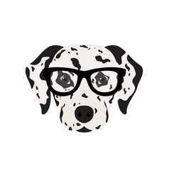 Dalmatian dog in glasses cute dog vector