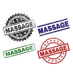 Damaged textured massage seal stamps vector