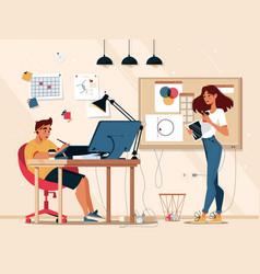 designer work in graphic design studio vector image