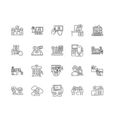 Equity investment line icons signs set vector