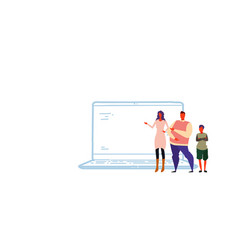 family using laptop computer application happy vector image
