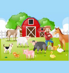 Farmer and farm animals in farmyard vector