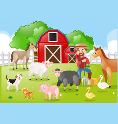 Farmer and farm animals in the farmyard vector