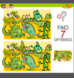 Find differences with dragon fantasy characters vector