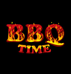 Fire sign bbq time logo design template vector