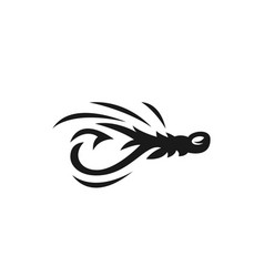 fishing fly logo bait emblem vector image