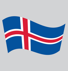flag of iceland waving on gray background vector image