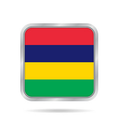 flag of mauritius metallic gray square button vector image