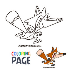 fox smile cartoon coloring page vector image