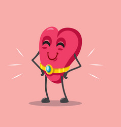 funny cartoon heart proudly wearing an engagement vector image