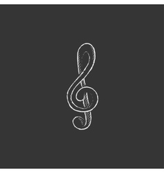 G-clef Drawn in chalk icon vector