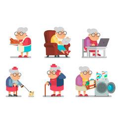 granny character cartoon design set flat vector image