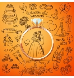 hand drawn collection decorative wedding design vector image