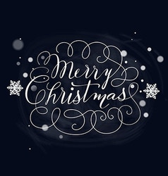 Hand-Drawn Lettering Merry Christmas vector image