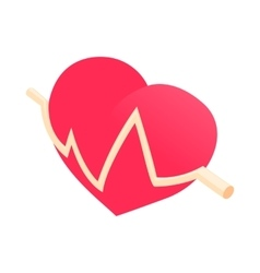 Heartbeat icon cartoon style vector