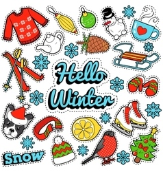 Hello Winter Stickers Badges Patches Decoration vector