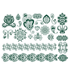 Henna tattoo brown mehndi flower doodle ornamental vector