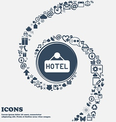 hotel icon in the center Around the many beautiful vector image