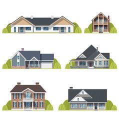 houses set suburban american exterior flat vector image