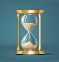 icon realistic golden bright hourglass watch with vector image