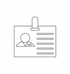 ID card with clip icon thin line style vector