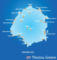 Island of Thassos in Greece map vector image